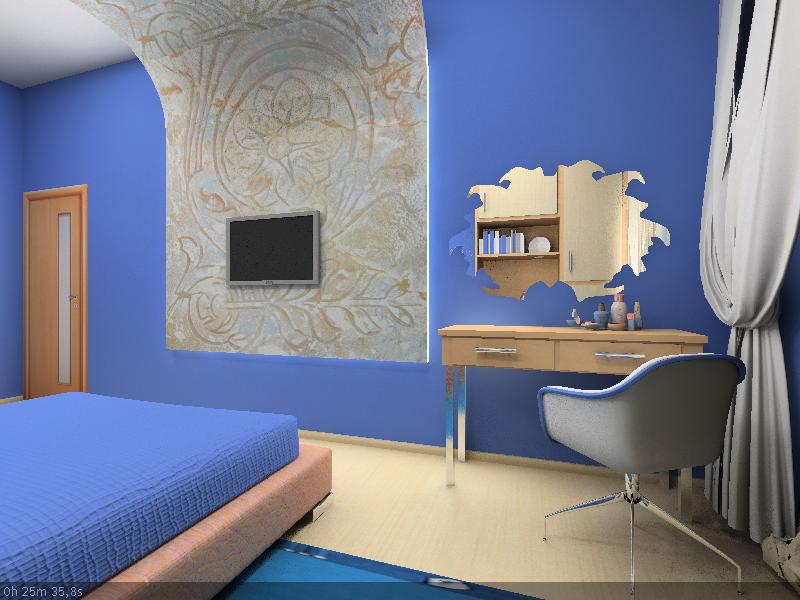 дизайн для спальной комнаты в спокойных синих тонах