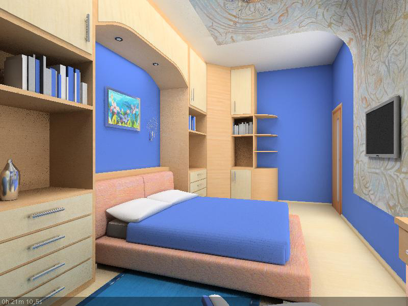 интерьер для спальной комнаты в синих тонах