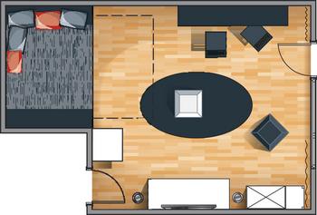 планировка однокомнатной квартире для молодого человека