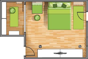 планировка однокомнатной квартире для девушки