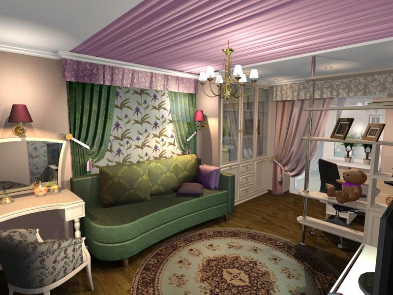 дизайн для гостиной с личным кабинетом