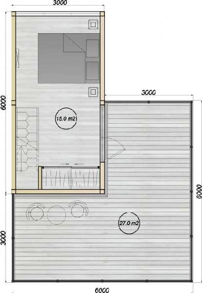 модульный дом из трех бытовок планировка 2-го этажа