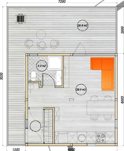 модульный дом из трех бытовок планировка 1-го этажа