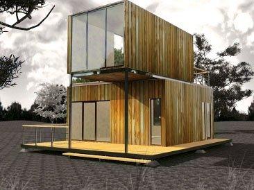 модульный дом трех бытовок с террасой