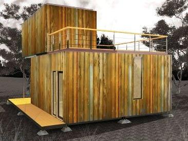 модульный дом из бытовок с террасой