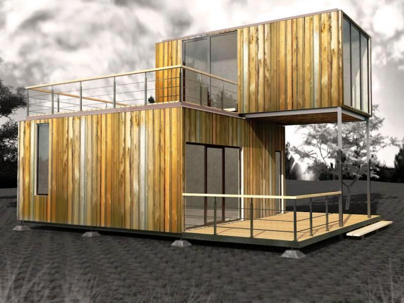 модульный дом из трех бытовок дизайн