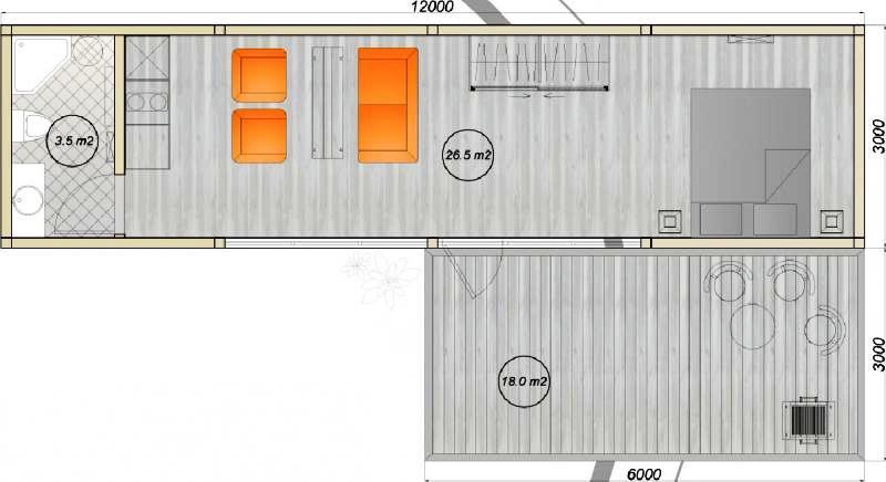 модульный дом из 2-х бытовок планировка