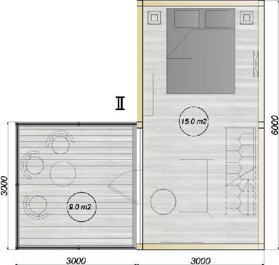 модульный дом из 3-х бытовок планировка 2-го этажа