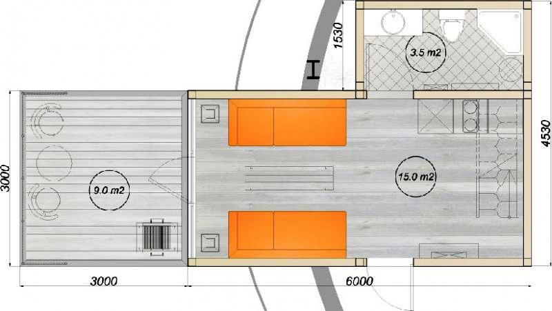 модульный дом из 3-х бытовок планировка 1-го этажа