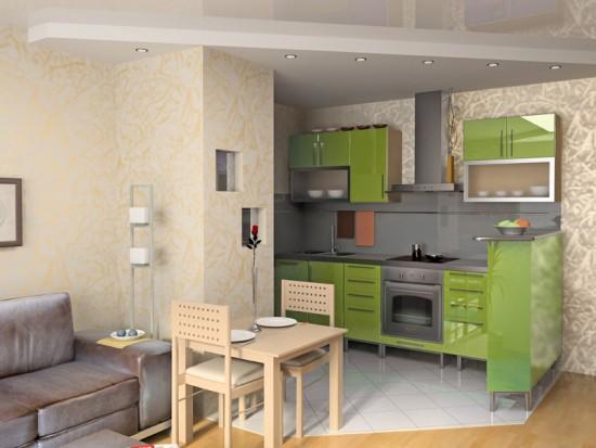 совмещаем зал и кухню в маленькой квартире