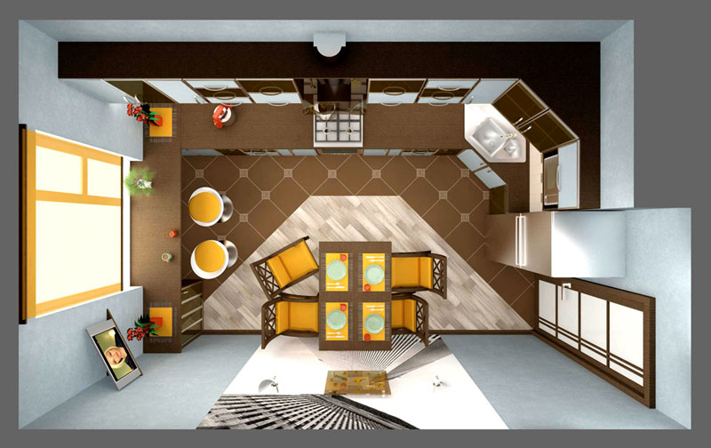 дизайн для кухни в трех комнатной квартане