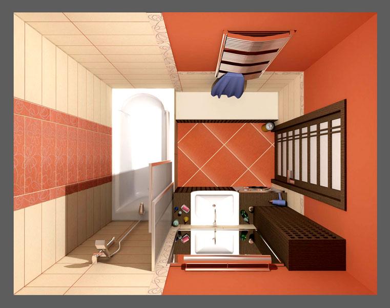 дизайн для ванной комнаты в трешки
