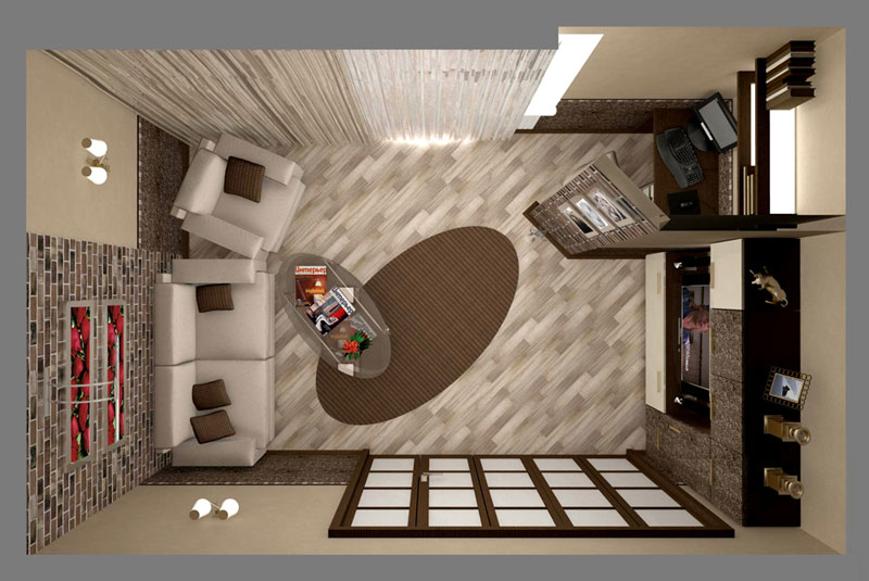 Дизай для 3-х комнатной квартиры - гостиная