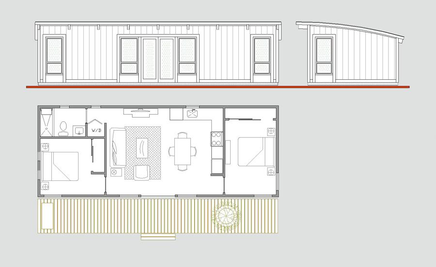 щитовой гостевой домик на две спальни