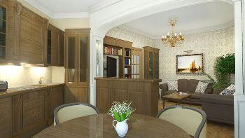 Дизайн трех комнатной квартиры кухня в классическом стиле
