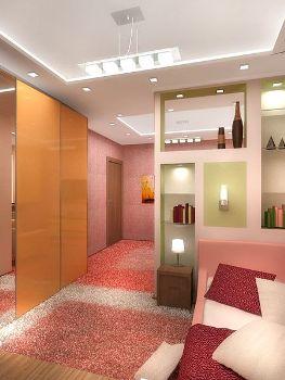 зонирование  в гостиной-спальни