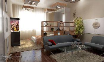 планируем пространство Спальная и зал в одной комнате