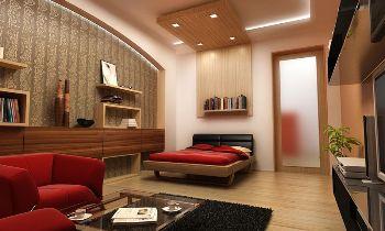 Спальная и зал дизайн для комнате