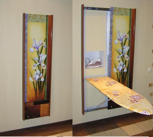 гладильная доска за зеркалом