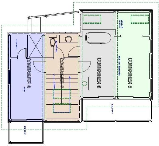 коттедж из бытовок план второго этажа