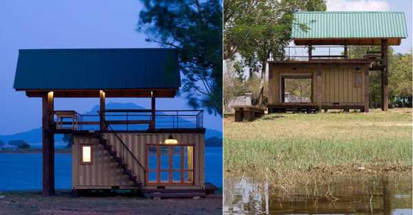 Дом из контейнеров на берегу озера