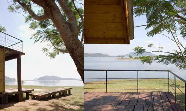 красивый дом из контейнеров на берегу озера