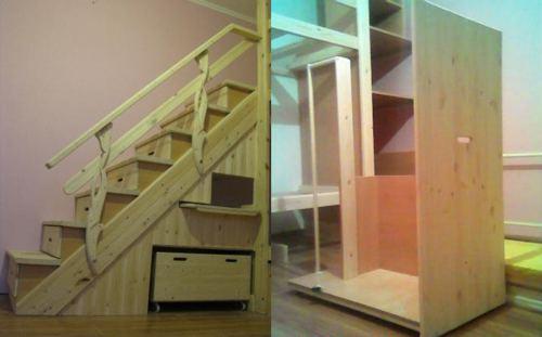 ящики под лестницей - самодельная двух яростная кровать