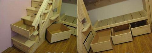 ящики самодельная двухъярусная кровать