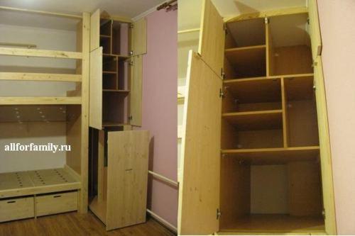 самодельная двух яростная кровать и шкаф для детей