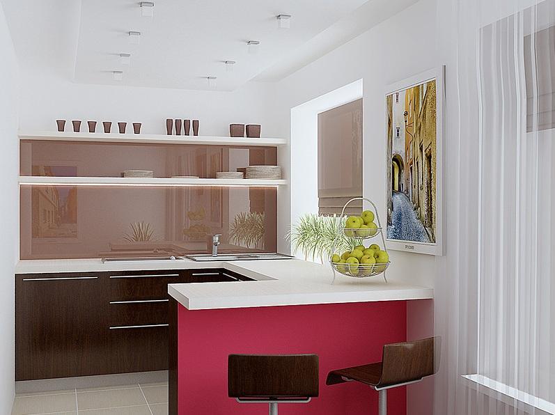 дизайнерская кухня в однокомнатной квартире