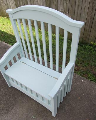 самодельная скамья из детской кроватки