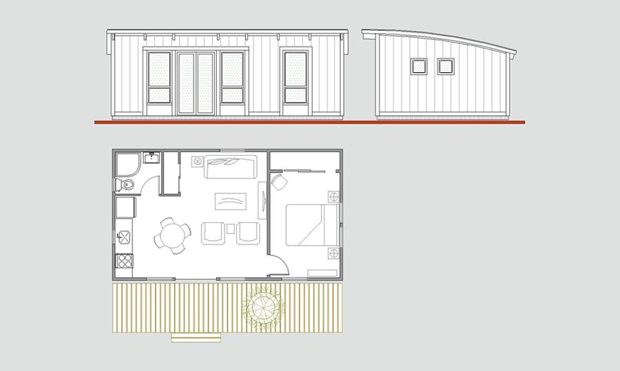 щитовой гостевой домик сотдельной спальней