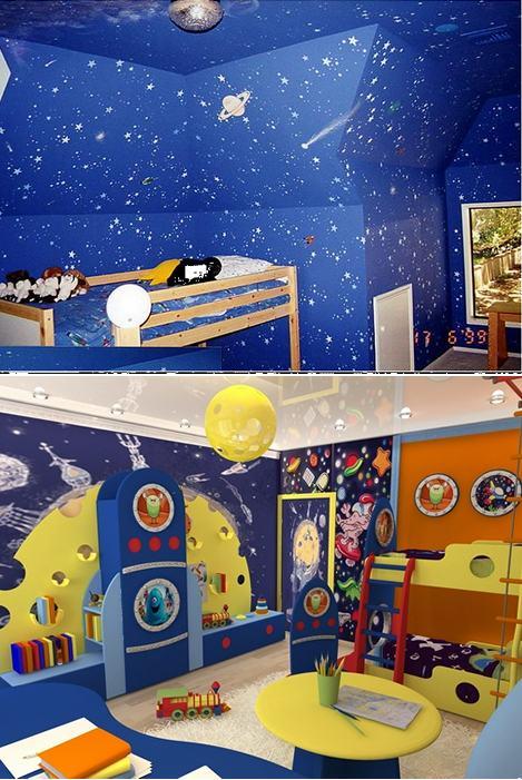 космический стиль в детской комнате