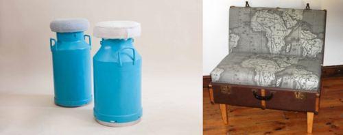 дизайнерские табурет и диван из подручных средств