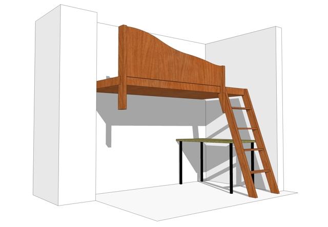 Кровать-чердак и стол