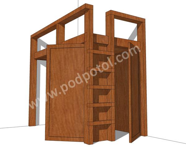 Кровать-чердак с кладовкой