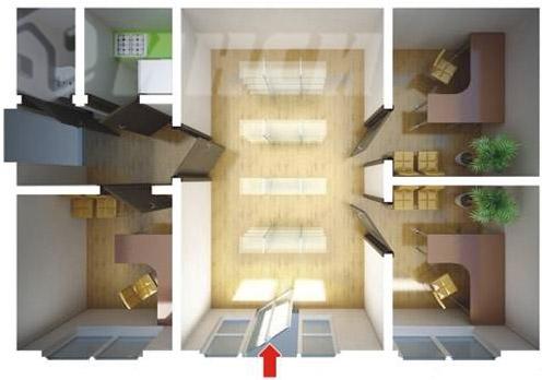 одноэтажный быстровозводимый дом офис - планировка