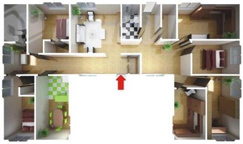 большой Одноэтажного жилого быстровозводимый дом - планировка этажа