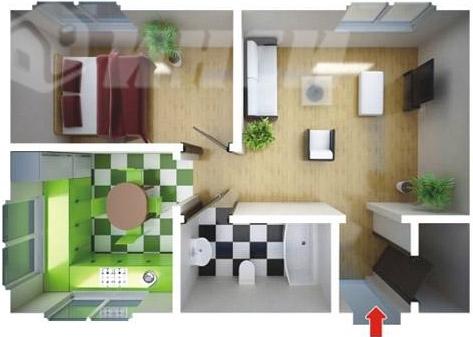 одноэтажный быстровозводимый дом для индивидуальной застройки - планировка