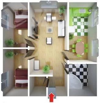 большой одноэтажный быстровозводимый дом - планировка
