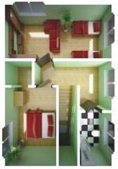большой Двухэтажного жилого быстровозводимый дом - планировка второго этажа