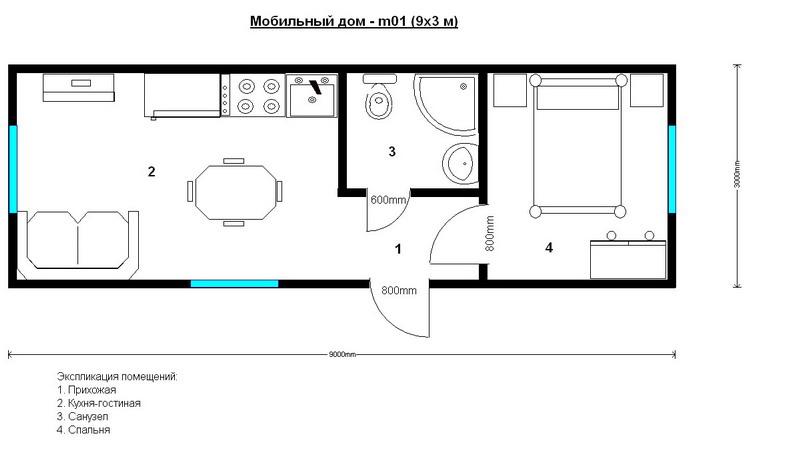 дом из одной бытовки 9 на 3 метра