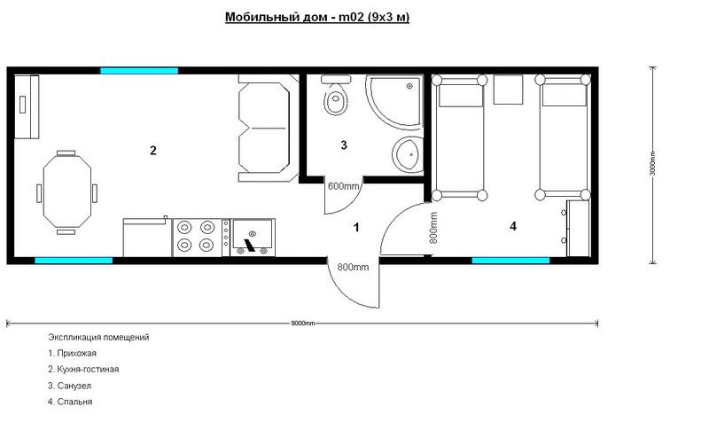 мобильный дом из одной бытовки 9 на 3 метра