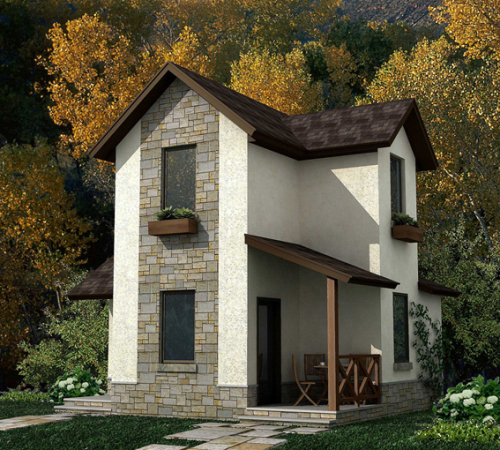дачный двухэтажный дом на 50 кв метров