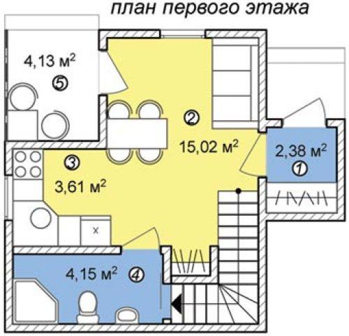 дачный двухэтажный дом на 50 кв метров план 1 этажа