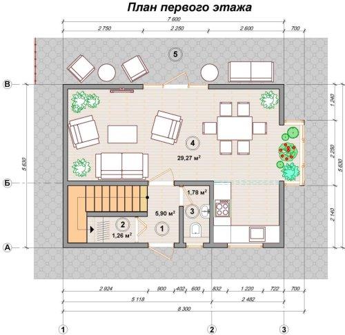 Канадский дом из sip панелей план первого этажа