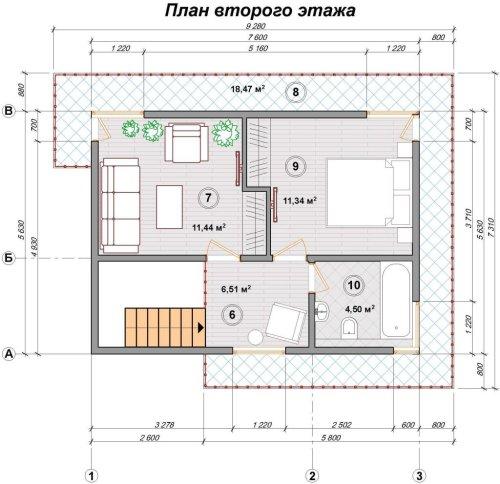 Канадский дом из sip панелей план второго этажа