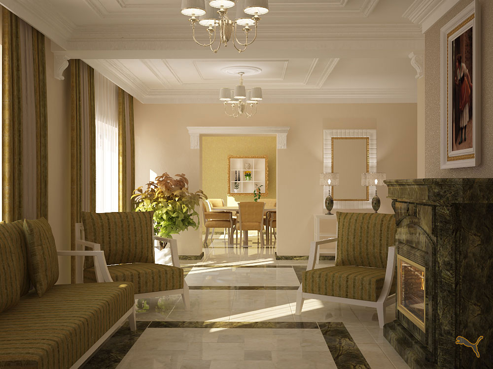 дизайн проект шикарной гостиной комнаты