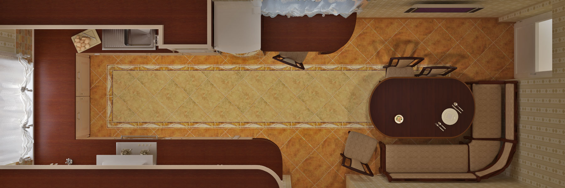план узкой кухни
