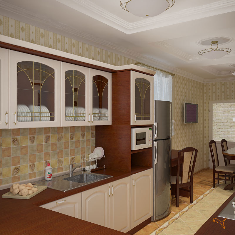 Длинная кухня интерьер